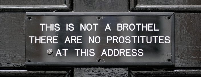 The sign at the entrance to the home of Sebastian Horsley